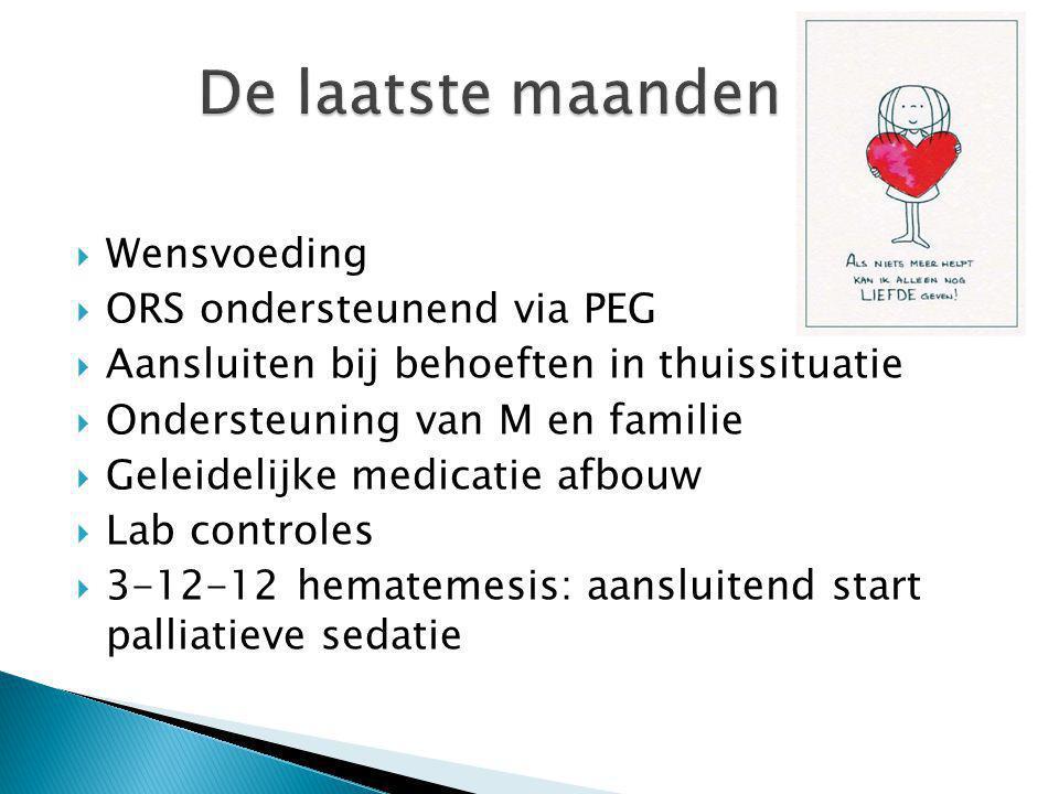  Wensvoeding  ORS ondersteunend via PEG  Aansluiten bij behoeften in thuissituatie  Ondersteuning van M en familie  Geleidelijke medicatie afbouw  Lab controles  3-12-12 hematemesis: aansluitend start palliatieve sedatie