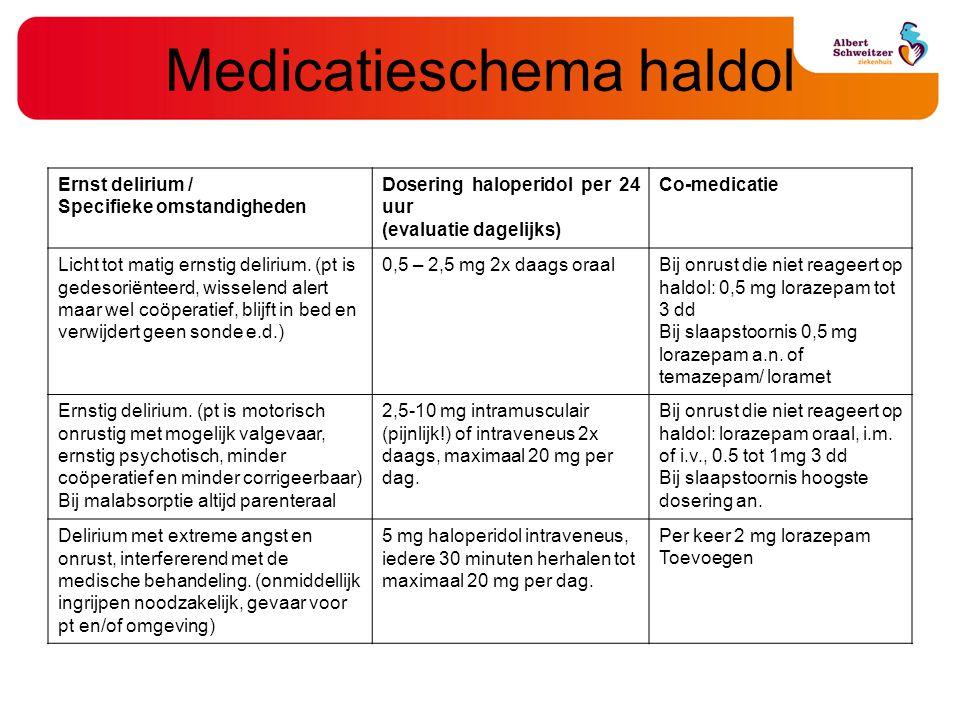 Medicatieschema haldol Ernst delirium / Specifieke omstandigheden Dosering haloperidol per 24 uur (evaluatie dagelijks) Co-medicatie Licht tot matig e