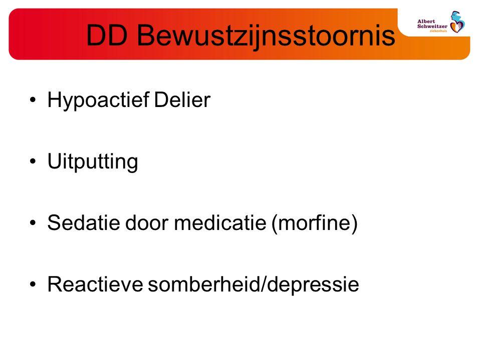 DD Bewustzijnsstoornis Hypoactief Delier Uitputting Sedatie door medicatie (morfine) Reactieve somberheid/depressie