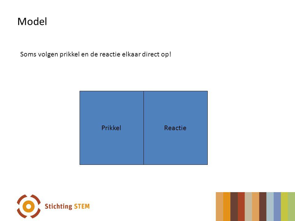 PrikkelReactie Soms volgen prikkel en de reactie elkaar direct op! Model