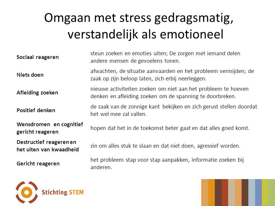 Omgaan met stress gedragsmatig, verstandelijk als emotioneel Sociaal reageren steun zoeken en emoties uiten; De zorgen met iemand delen andere mensen
