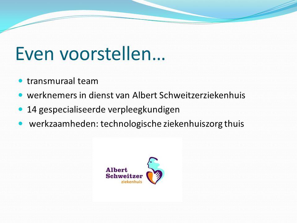 Even voorstellen… transmuraal team werknemers in dienst van Albert Schweitzerziekenhuis 14 gespecialiseerde verpleegkundigen werkzaamheden: technologi