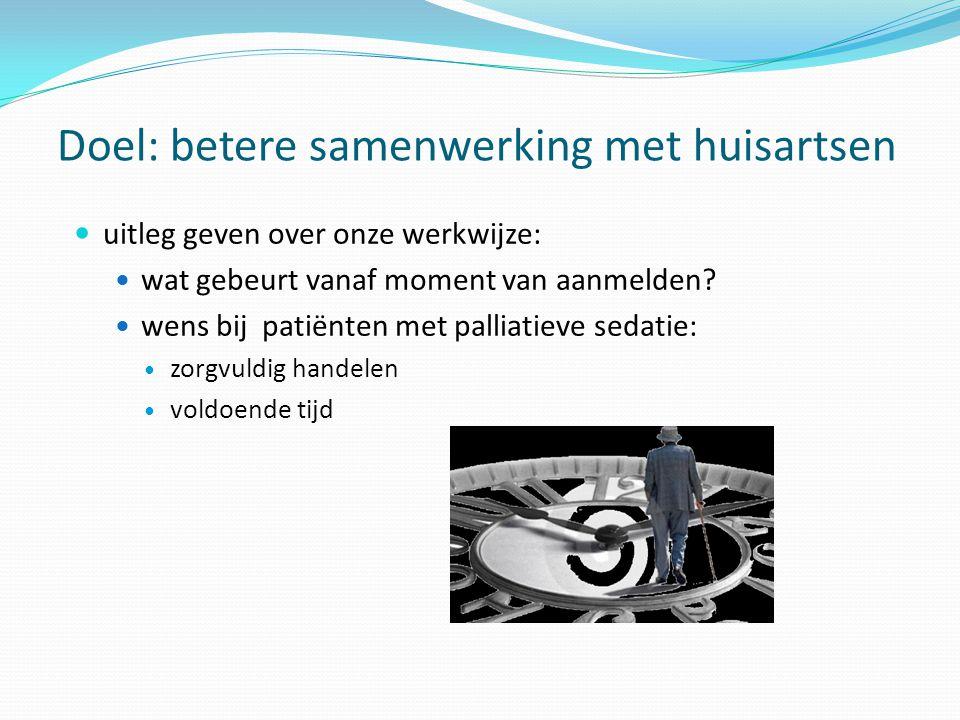 Doel: betere samenwerking met huisartsen uitleg geven over onze werkwijze: wat gebeurt vanaf moment van aanmelden? wens bij patiënten met palliatieve