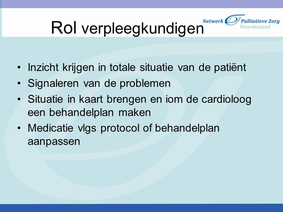 Rol verpleegkundigen Inzicht krijgen in totale situatie van de patiënt Signaleren van de problemen Situatie in kaart brengen en iom de cardioloog een