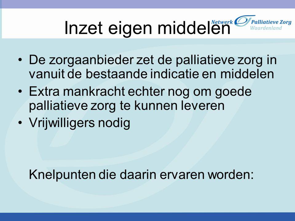 Knelpunten (1) Kennis en kunde omtrent palliatieve zorg is niet toereikend genoeg Ontbreken van het leveren van kwalitatief goede palliatieve zorg Verzorgen van de persoon in de vaak kleine kamer Grote druk op medewerkers