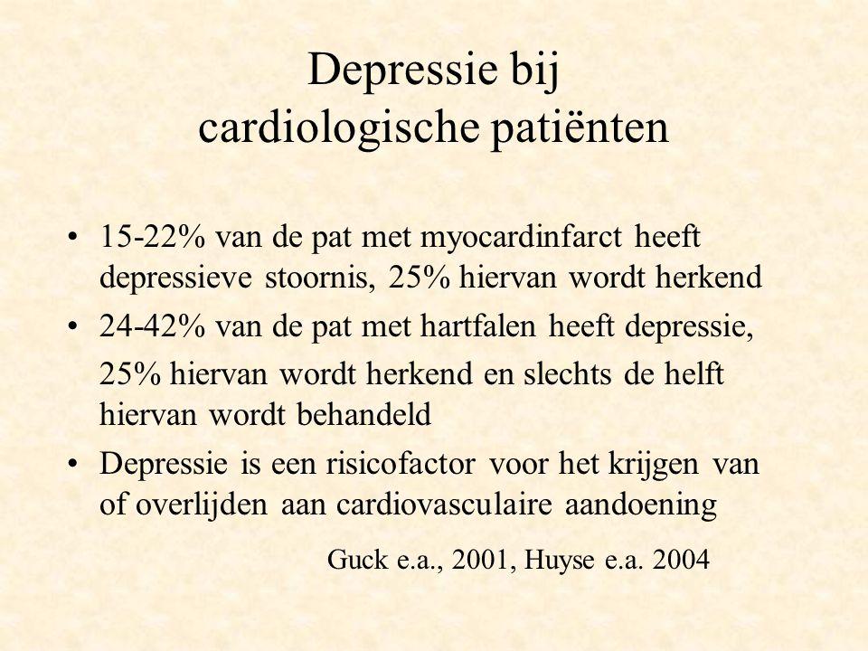 Depressie bij cardiologische patiënten 15-22% van de pat met myocardinfarct heeft depressieve stoornis, 25% hiervan wordt herkend 24-42% van de pat me
