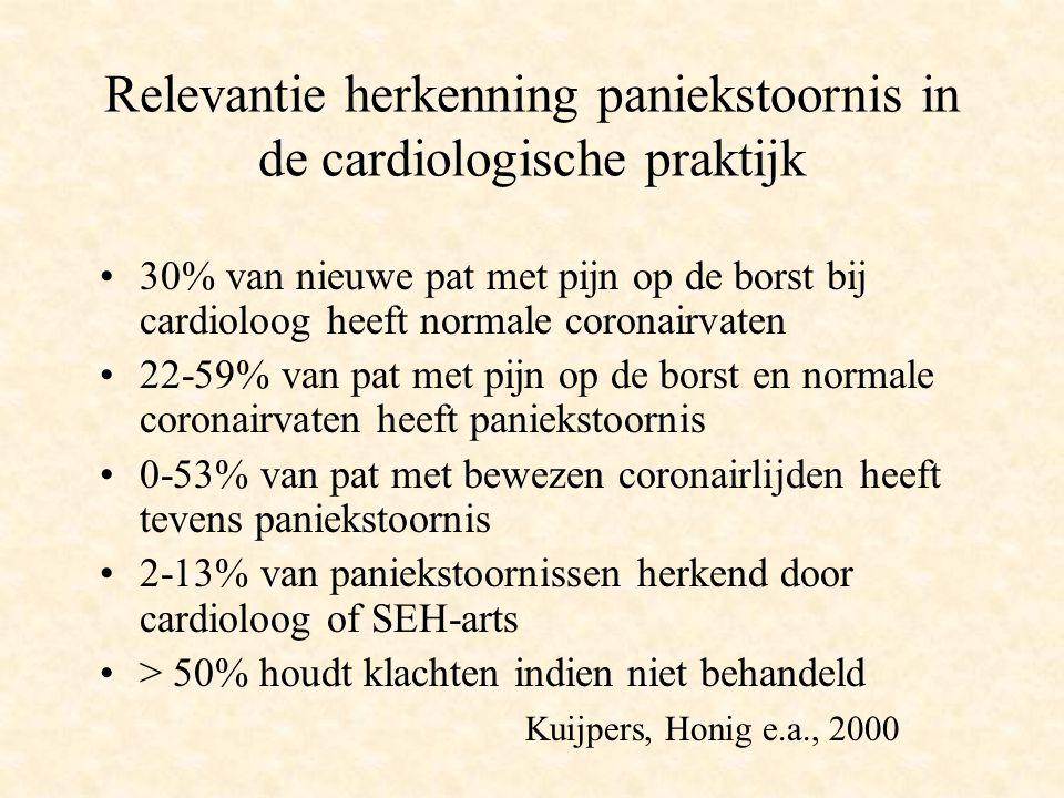 Relevantie herkenning paniekstoornis in de cardiologische praktijk 30% van nieuwe pat met pijn op de borst bij cardioloog heeft normale coronairvaten