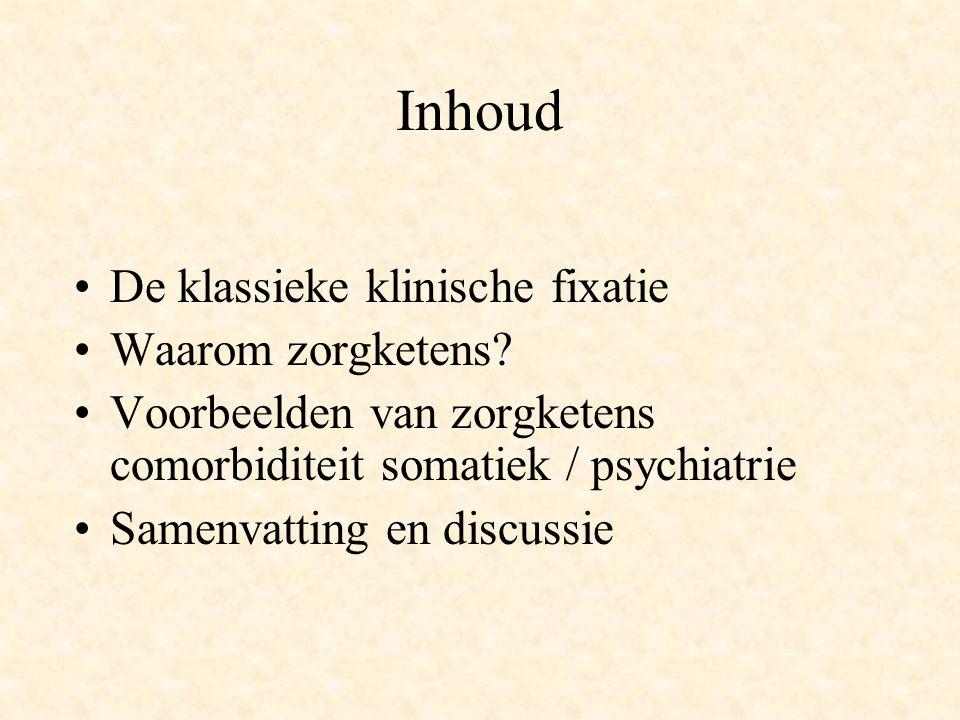 De klassieke klinische fixatie 'Consultatieve psychiatrie' duidt de werkzaamheden aan van psychiaters die consulten verrichten op afdelingen van algemene ziekenhuizen op aanvraag van de specialist en op de SEH (Boenink en Huyse, 2002) De 'Werkgroep Psychiatrie en Somatische Comorbiditeit' gaat over Psychiatrisch Medische Units (Symposium 2004)