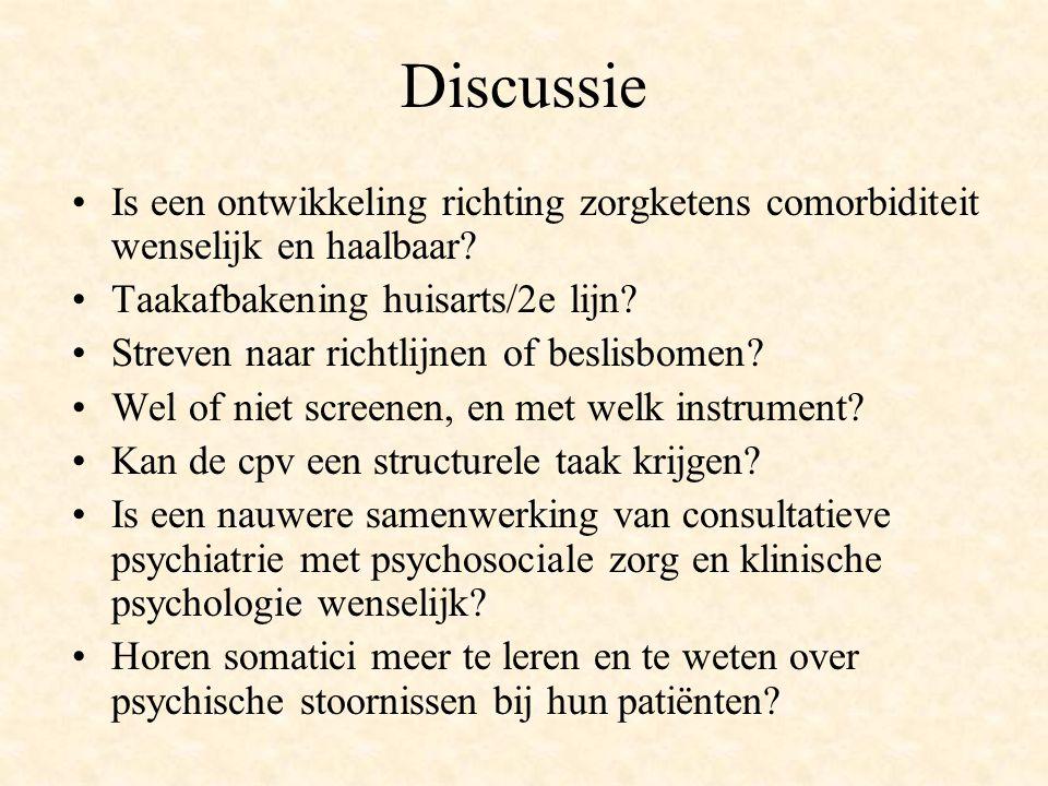 Discussie Is een ontwikkeling richting zorgketens comorbiditeit wenselijk en haalbaar? Taakafbakening huisarts/2e lijn? Streven naar richtlijnen of be