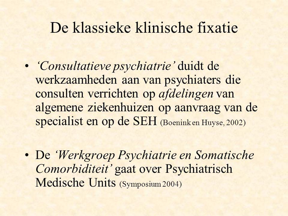 De klassieke klinische fixatie 'Consultatieve psychiatrie' duidt de werkzaamheden aan van psychiaters die consulten verrichten op afdelingen van algem
