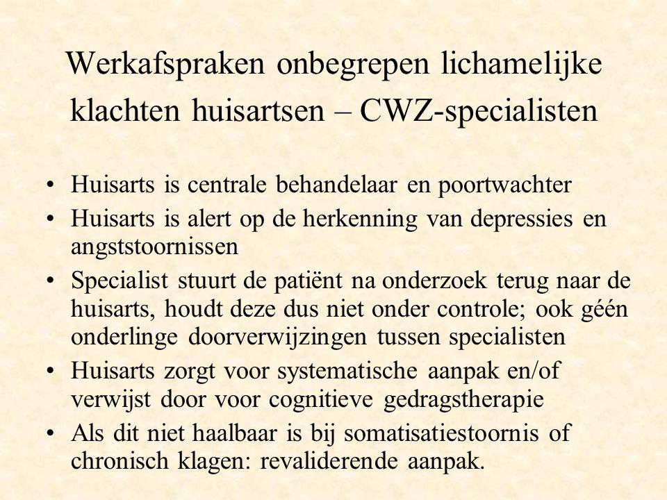 Werkafspraken onbegrepen lichamelijke klachten huisartsen – CWZ-specialisten Huisarts is centrale behandelaar en poortwachter Huisarts is alert op de