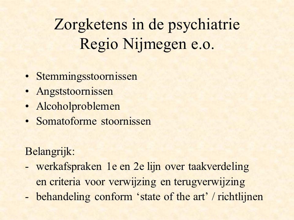 Zorgketens in de psychiatrie Regio Nijmegen e.o. Stemmingsstoornissen Angststoornissen Alcoholproblemen Somatoforme stoornissen Belangrijk: -werkafspr