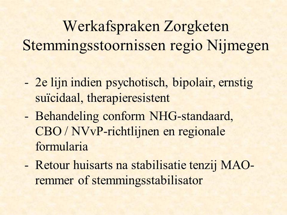 Werkafspraken Zorgketen Stemmingsstoornissen regio Nijmegen -2e lijn indien psychotisch, bipolair, ernstig suïcidaal, therapieresistent -Behandeling c