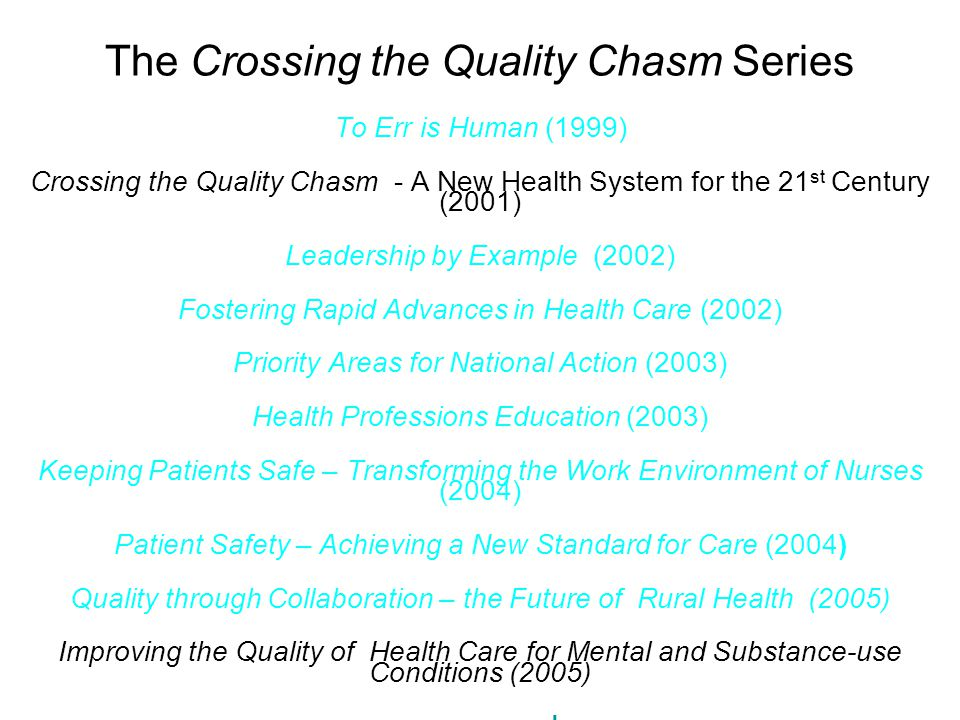 The Crossing the Quality Chasm Series To Err is Human (1999) Crossing the Quality Chasm - A New Health System for the 21 st Century (2001) Leadership