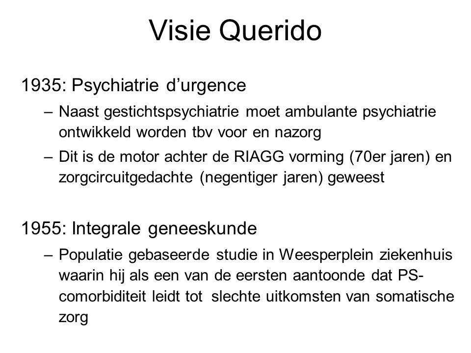 Visie Querido 1935: Psychiatrie d'urgence –Naast gestichtspsychiatrie moet ambulante psychiatrie ontwikkeld worden tbv voor en nazorg –Dit is de motor