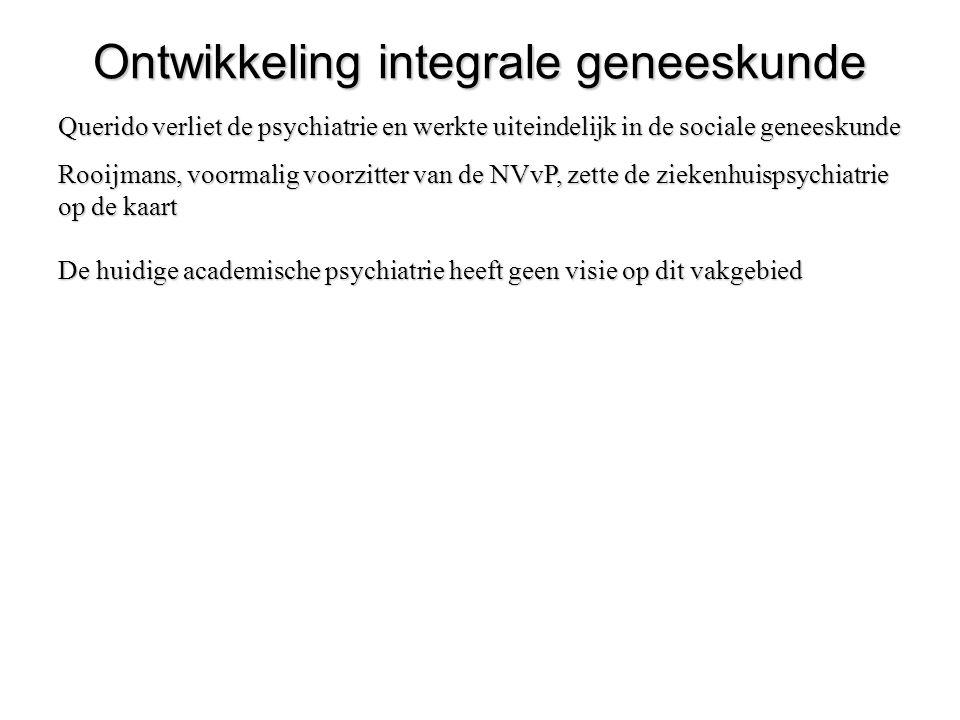 Ontwikkeling integrale geneeskunde Querido verliet de psychiatrie en werkte uiteindelijk in de sociale geneeskunde Rooijmans, voormalig voorzitter van
