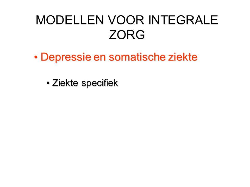 MODELLEN VOOR INTEGRALE ZORG Depressie en somatische ziekte Depressie en somatische ziekte Ziekte specifiek Ziekte specifiek