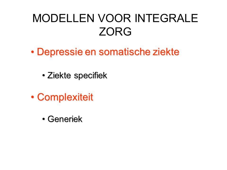 MODELLEN VOOR INTEGRALE ZORG Depressie en somatische ziekte Depressie en somatische ziekte Ziekte specifiek Ziekte specifiek Complexiteit Complexiteit