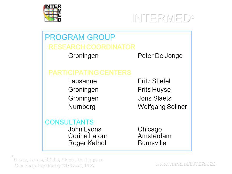 INTERMED c PROGRAM GROUP RESEARCH COORDINATOR Groningen Peter De Jonge PARTICIPATING CENTERS LausanneFritz Stiefel GroningenFrits Huyse Groningen Jori
