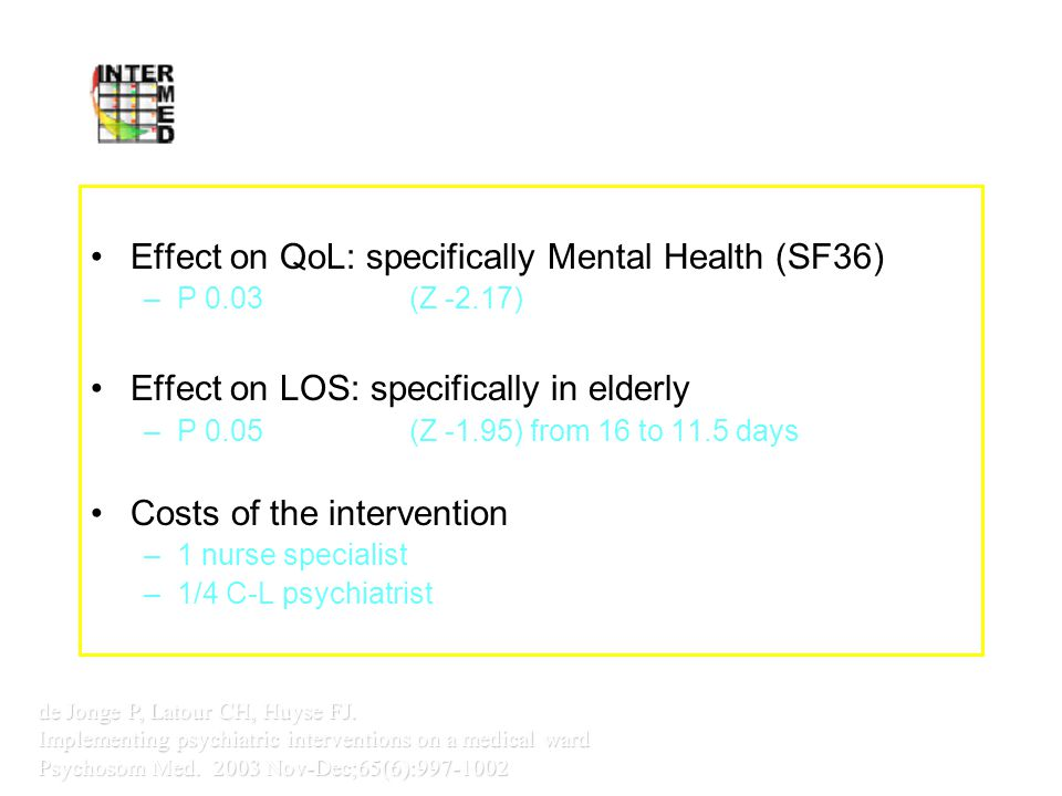 Intervention Study Internal Medicine Vumc Effect on QoL: specifically Mental Health (SF36) –P 0.03(Z -2.17) Effect on LOS: specifically in elderly –P