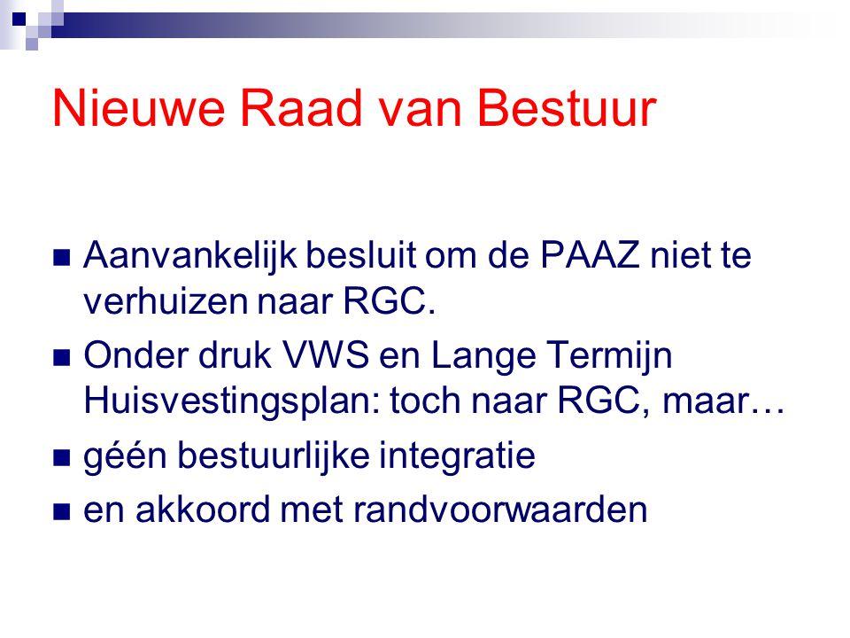 Nieuwe Raad van Bestuur Aanvankelijk besluit om de PAAZ niet te verhuizen naar RGC. Onder druk VWS en Lange Termijn Huisvestingsplan: toch naar RGC, m