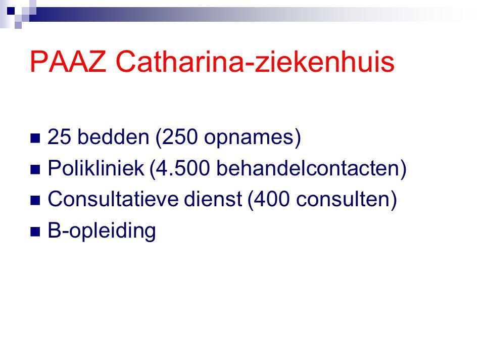 PAAZ Catharina-ziekenhuis 25 bedden (250 opnames) Polikliniek (4.500 behandelcontacten) Consultatieve dienst (400 consulten) B-opleiding