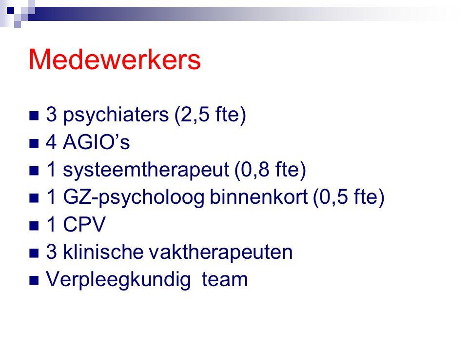 Medewerkers 3 psychiaters (2,5 fte) 4 AGIO's 1 systeemtherapeut (0,8 fte) 1 GZ-psycholoog binnenkort (0,5 fte) 1 CPV 3 klinische vaktherapeuten Verple