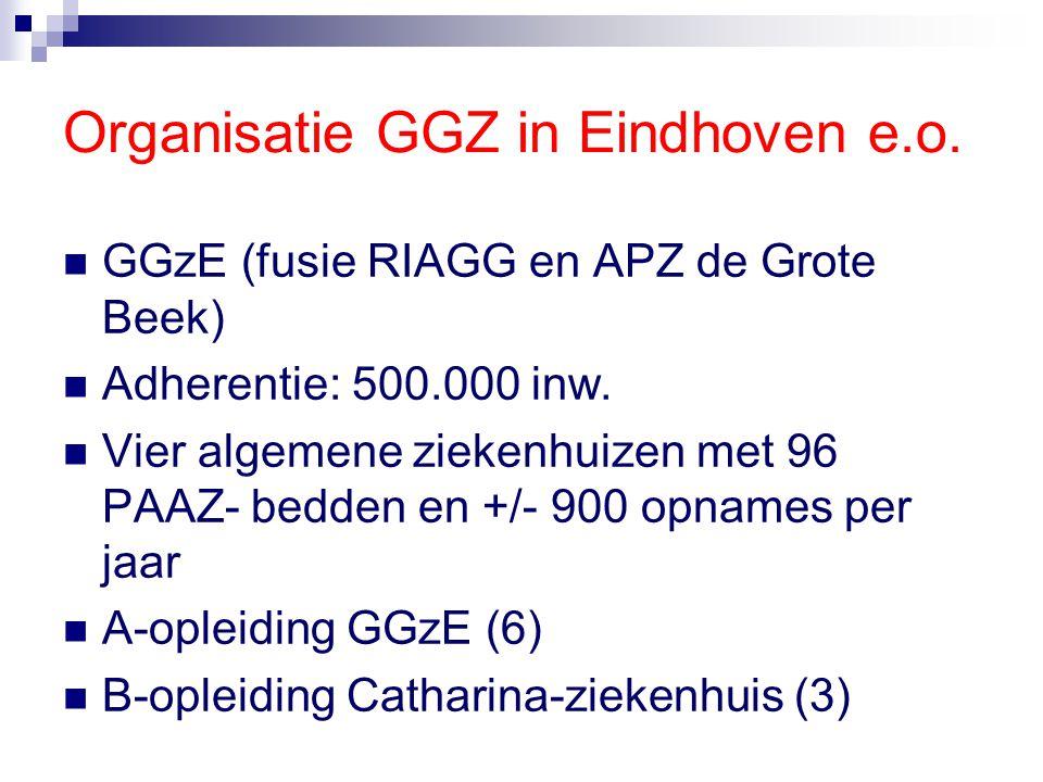 Organisatie GGZ in Eindhoven e.o. GGzE (fusie RIAGG en APZ de Grote Beek) Adherentie: 500.000 inw. Vier algemene ziekenhuizen met 96 PAAZ- bedden en +