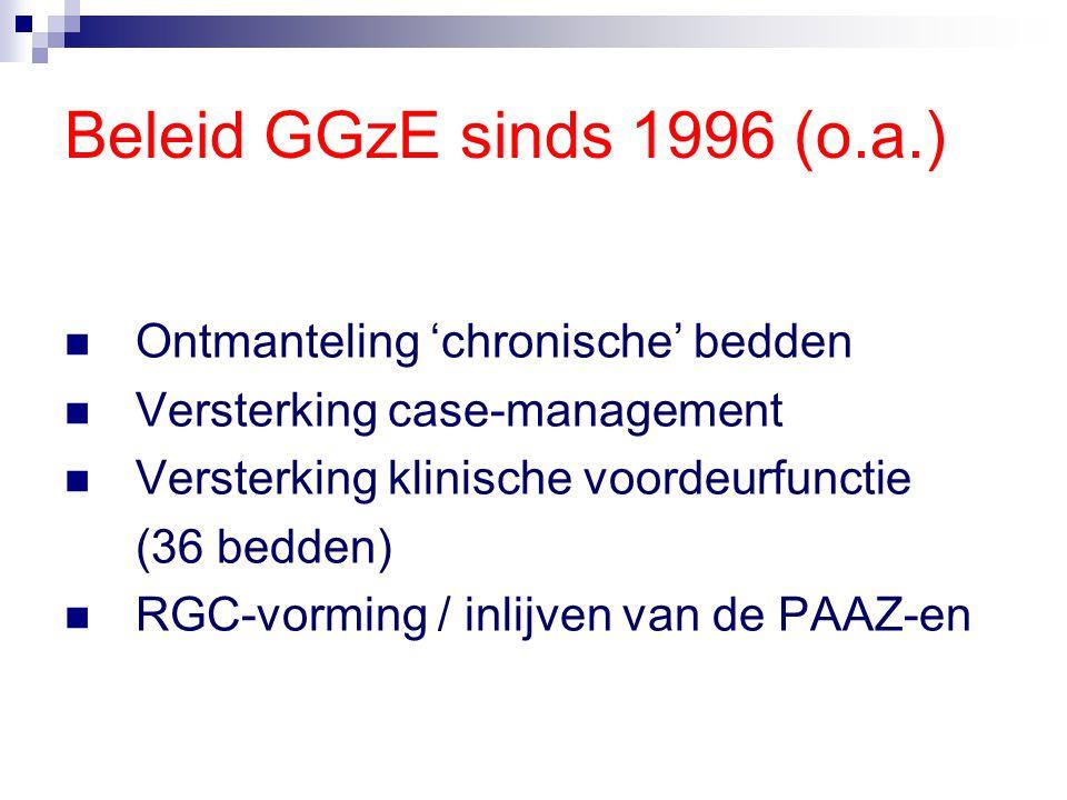Beleid GGzE sinds 1996 (o.a.) Ontmanteling 'chronische' bedden Versterking case-management Versterking klinische voordeurfunctie (36 bedden) RGC-vormi
