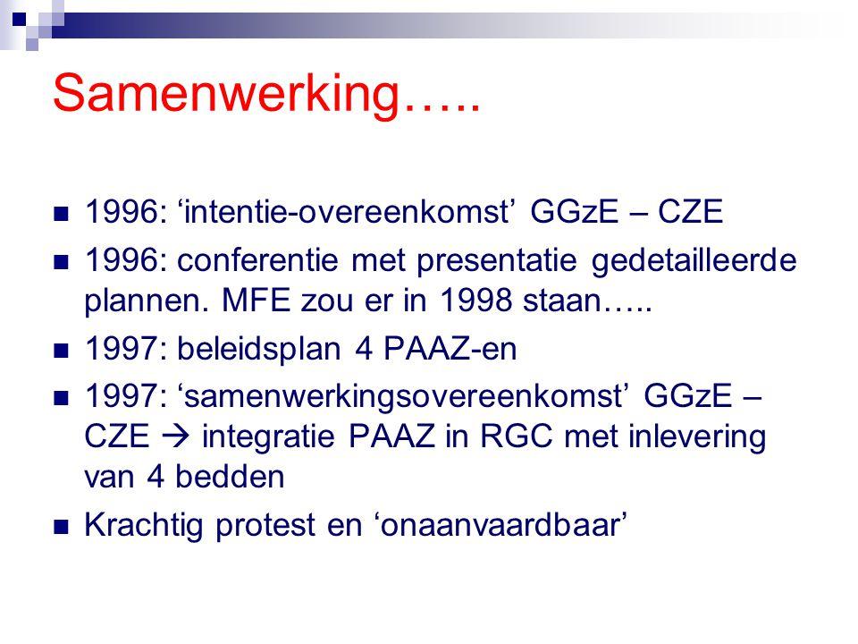 Samenwerking….. 1996: 'intentie-overeenkomst' GGzE – CZE 1996: conferentie met presentatie gedetailleerde plannen. MFE zou er in 1998 staan….. 1997: b