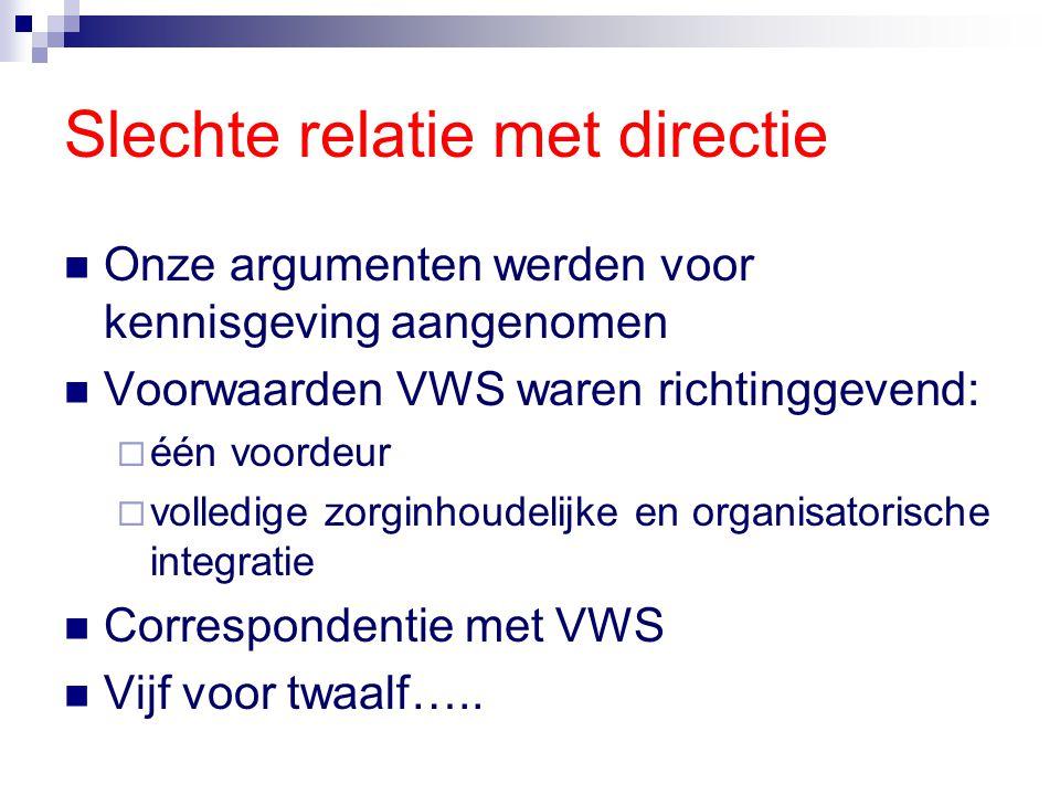 Slechte relatie met directie Onze argumenten werden voor kennisgeving aangenomen Voorwaarden VWS waren richtinggevend:  één voordeur  volledige zorg