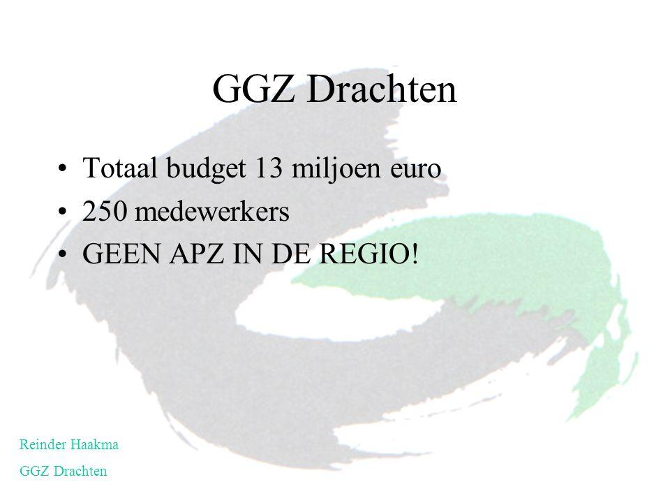 Totaal budget 13 miljoen euro 250 medewerkers GEEN APZ IN DE REGIO! Reinder Haakma GGZ Drachten