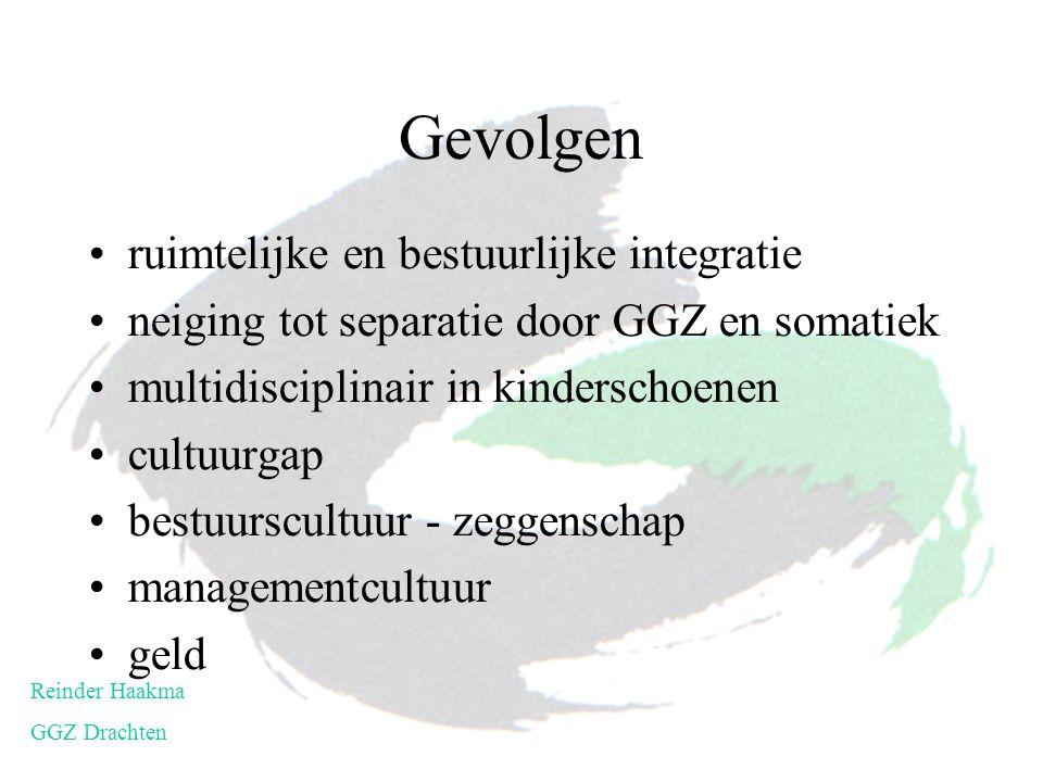Gevolgen ruimtelijke en bestuurlijke integratie neiging tot separatie door GGZ en somatiek multidisciplinair in kinderschoenen cultuurgap bestuurscult