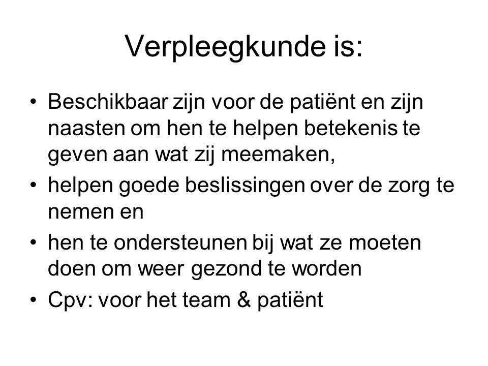Verpleegkunde is: Beschikbaar zijn voor de patiënt en zijn naasten om hen te helpen betekenis te geven aan wat zij meemaken, helpen goede beslissingen over de zorg te nemen en hen te ondersteunen bij wat ze moeten doen om weer gezond te worden Cpv: voor het team & patiënt