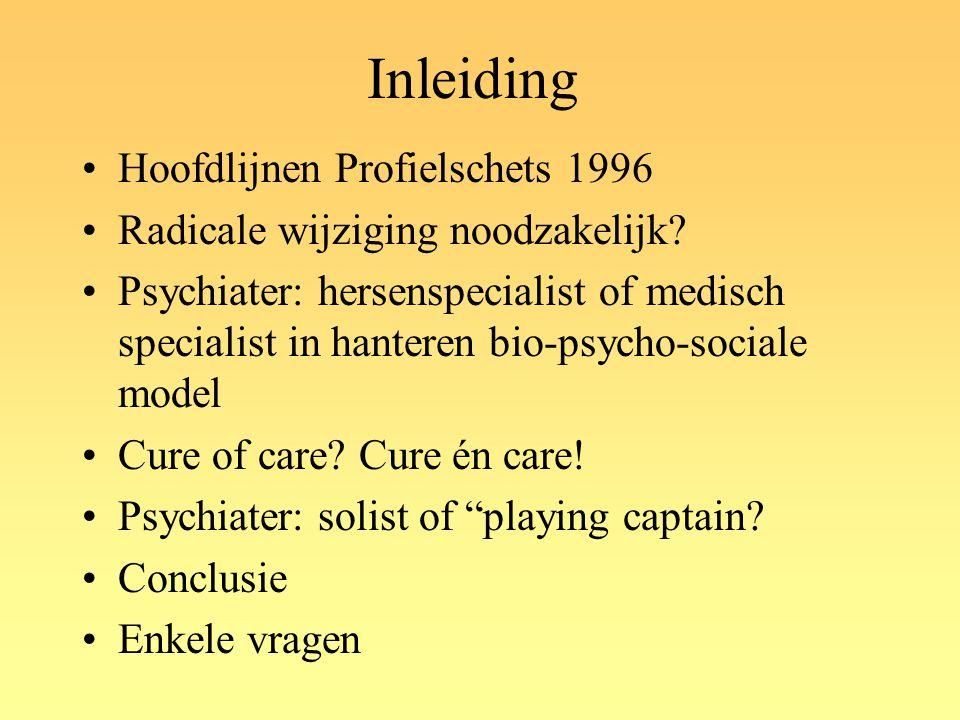 Inleiding Hoofdlijnen Profielschets 1996 Radicale wijziging noodzakelijk? Psychiater: hersenspecialist of medisch specialist in hanteren bio-psycho-so