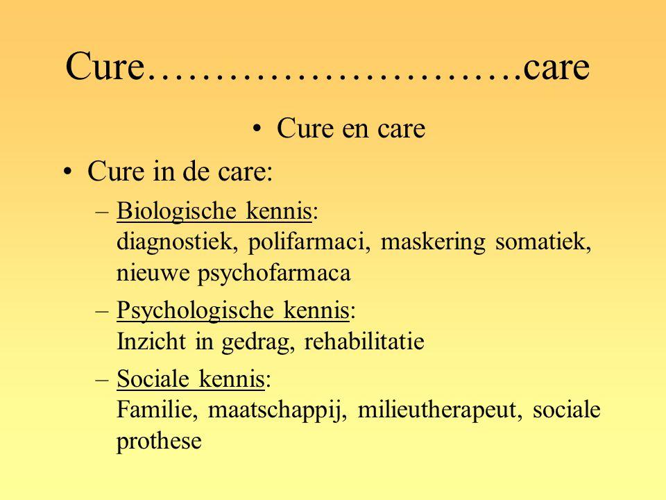 Cure……………………….care Cure en care Cure in de care: –Biologische kennis: diagnostiek, polifarmaci, maskering somatiek, nieuwe psychofarmaca –Psychologisc