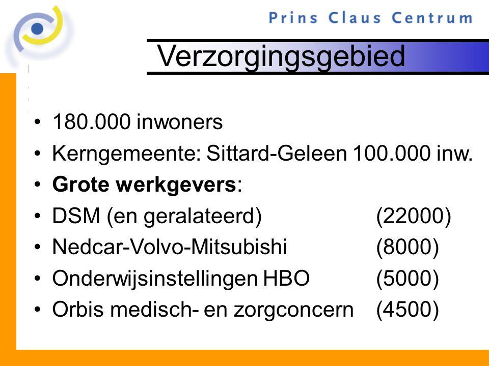 Verzorgingsgebied 180.000 inwoners Kerngemeente: Sittard-Geleen 100.000 inw. Grote werkgevers: DSM (en geralateerd)(22000) Nedcar-Volvo-Mitsubishi(800
