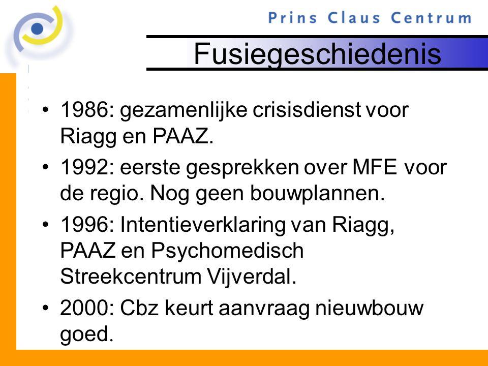 Fusiegeschiedenis 1986: gezamenlijke crisisdienst voor Riagg en PAAZ. 1992: eerste gesprekken over MFE voor de regio. Nog geen bouwplannen. 1996: Inte
