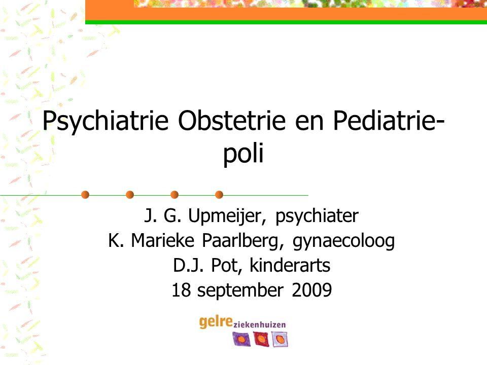  KMP/JGU/2009 POP-poli achtergrond 'Postpartum depressie' is meestal een exacerbatie van een reeds bestaande depressie Begint altijd tussen 2 weken en 2 jaar postpartum (meestal 2 – 4 wk p.p.) DD hypothyreoidie (10% p.p.)