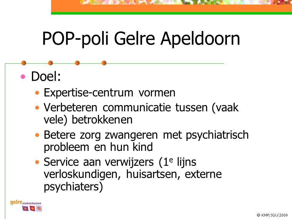  KMP/JGU/2009 POP-poli Gelre Apeldoorn Doel: Expertise-centrum vormen Verbeteren communicatie tussen (vaak vele) betrokkenen Betere zorg zwangeren met psychiatrisch probleem en hun kind Service aan verwijzers (1 e lijns verloskundigen, huisartsen, externe psychiaters)