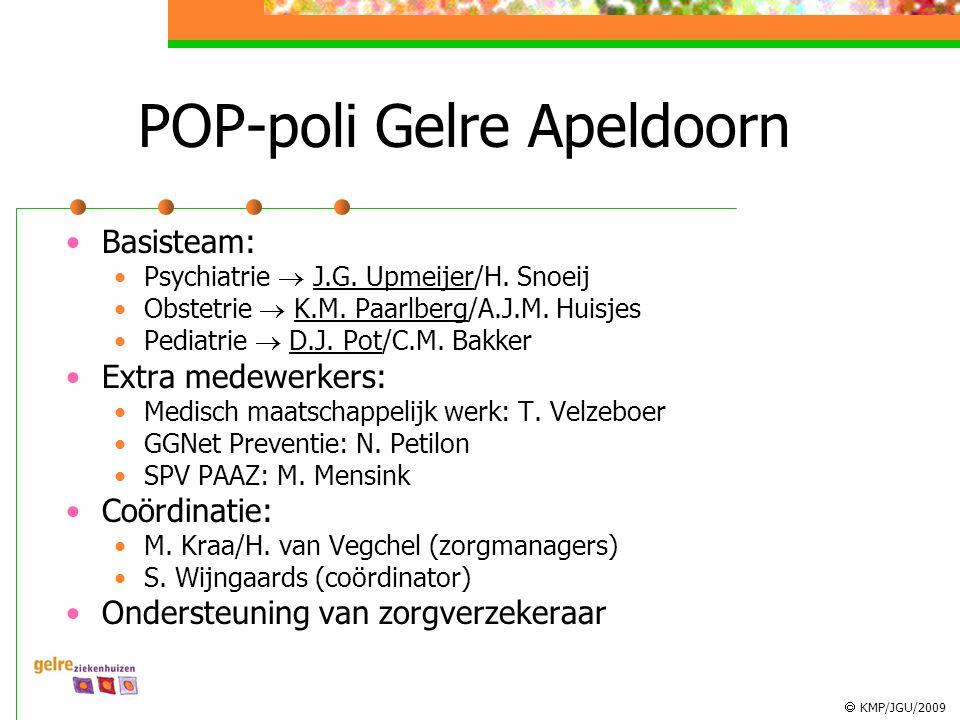  KMP/JGU/2009 POP-poli Gelre Apeldoorn Basisteam: Psychiatrie  J.G. Upmeijer/H. Snoeij Obstetrie  K.M. Paarlberg/A.J.M. Huisjes Pediatrie  D.J. Po