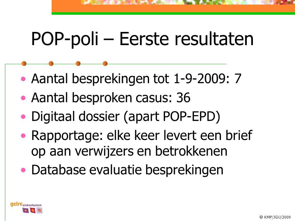  KMP/JGU/2009 POP-poli – Eerste resultaten Aantal besprekingen tot 1-9-2009: 7 Aantal besproken casus: 36 Digitaal dossier (apart POP-EPD) Rapportage: elke keer levert een brief op aan verwijzers en betrokkenen Database evaluatie besprekingen