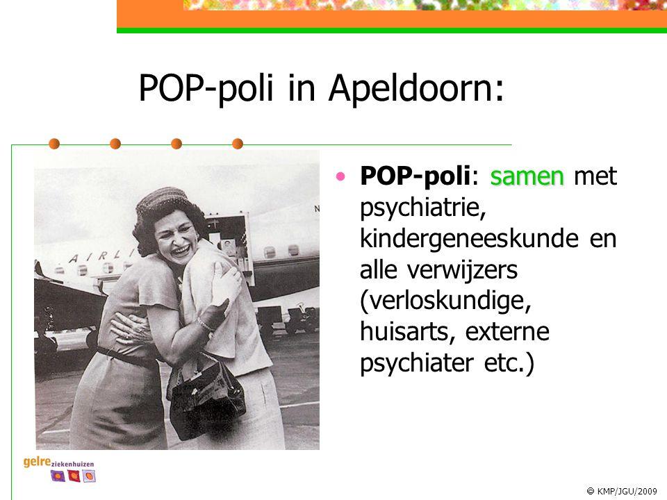  KMP/JGU/2009 POP-poli in Apeldoorn: samenPOP-poli: samen met psychiatrie, kindergeneeskunde en alle verwijzers (verloskundige, huisarts, externe psy