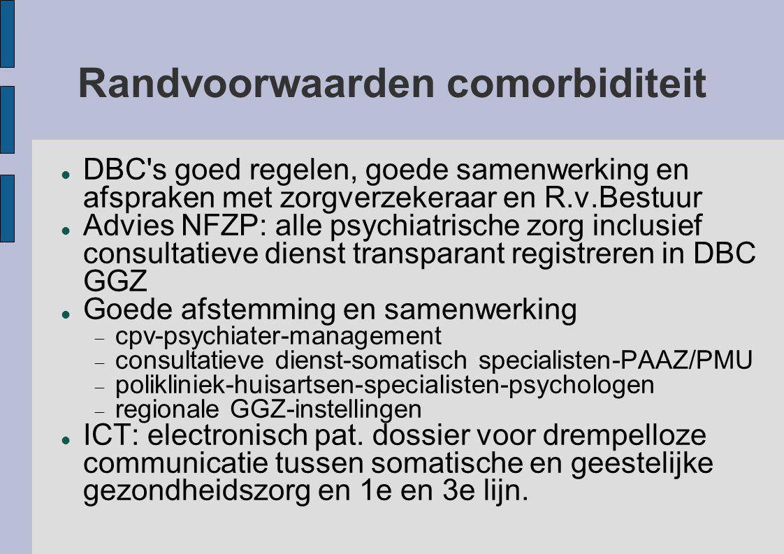 Randvoorwaarden comorbiditeit DBC's goed regelen, goede samenwerking en afspraken met zorgverzekeraar en R.v.Bestuur Advies NFZP: alle psychiatrische