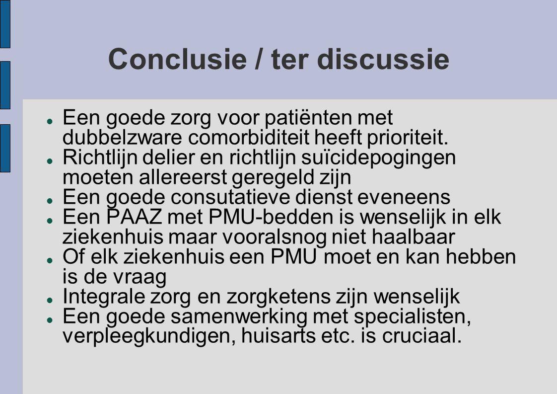 Conclusie / ter discussie Een goede zorg voor patiënten met dubbelzware comorbiditeit heeft prioriteit. Richtlijn delier en richtlijn suïcidepogingen