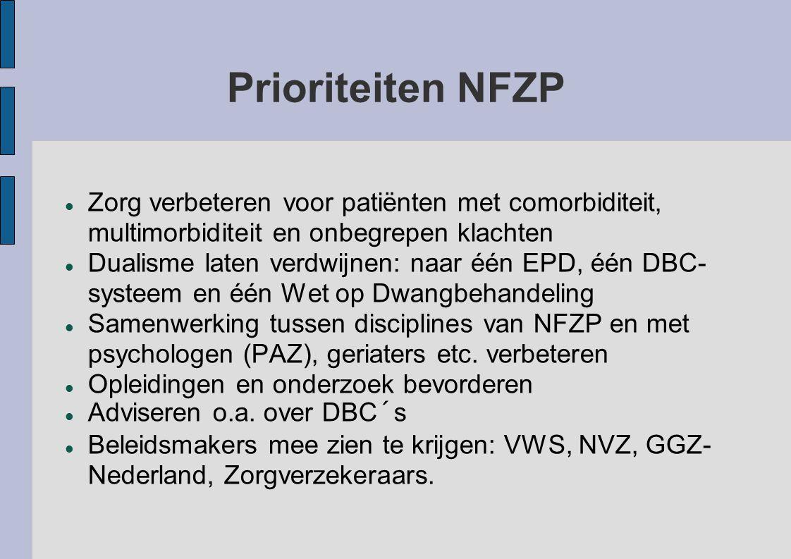 Prioriteiten NFZP Zorg verbeteren voor patiënten met comorbiditeit, multimorbiditeit en onbegrepen klachten Dualisme laten verdwijnen: naar één EPD, é