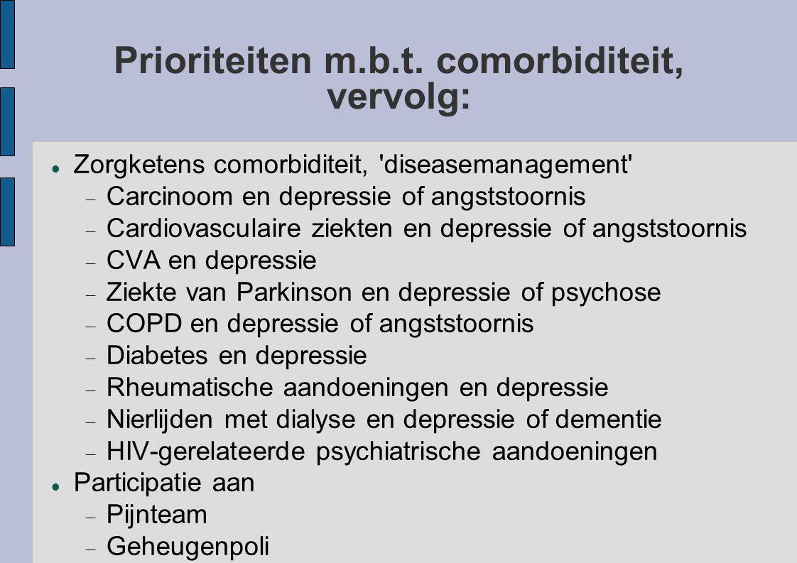 Prioriteiten m.b.t. comorbiditeit, vervolg: Zorgketens comorbiditeit, 'diseasemanagement'  Carcinoom en depressie of angststoornis  Cardiovasculaire