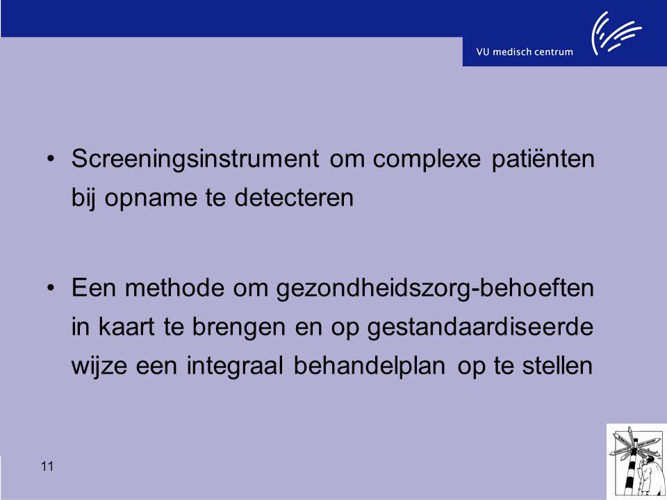 11 Screeningsinstrument om complexe patiënten bij opname te detecteren Een methode om gezondheidszorg-behoeften in kaart te brengen en op gestandaardi