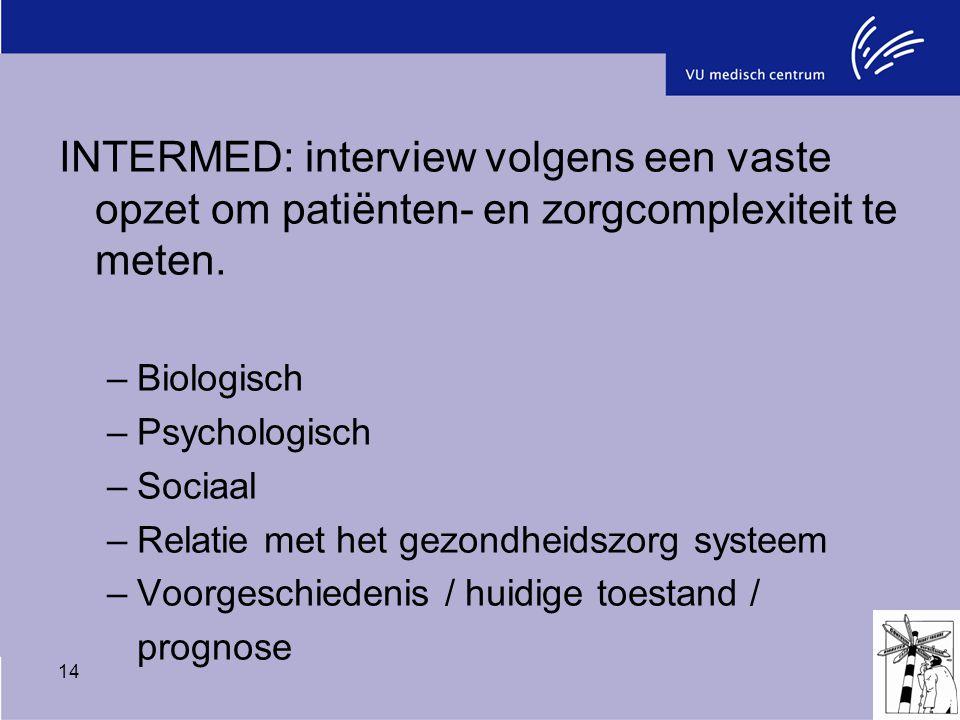 14 INTERMED: interview volgens een vaste opzet om patiënten- en zorgcomplexiteit te meten. –Biologisch –Psychologisch –Sociaal –Relatie met het gezond