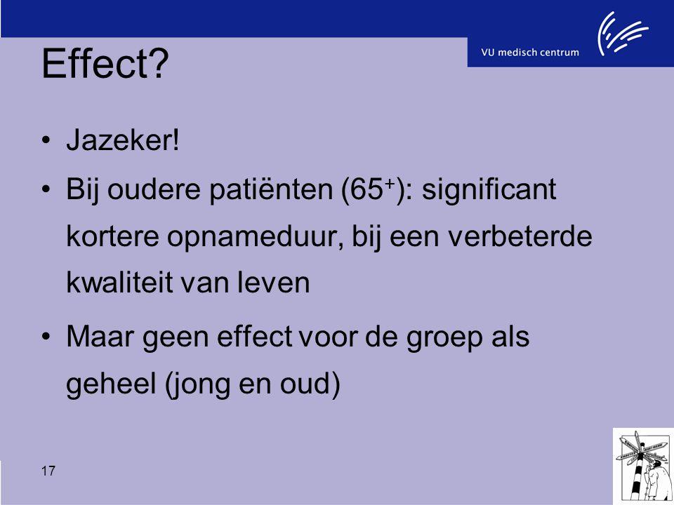 17 Effect? Jazeker! Bij oudere patiënten (65 + ): significant kortere opnameduur, bij een verbeterde kwaliteit van leven Maar geen effect voor de groe